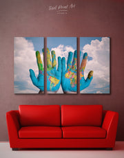 3 Panels World In Hands Wall Art Canvas Print