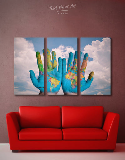 3 Panels World In Hands Wall Art Canvas Print - Canvas Wall Art 3 Panels Blue Contemporary Hallway Living Room