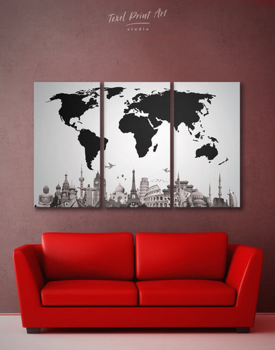 3 Panels World Map with Monuments Wall Art Canvas Print - 3 Panels Abstract map black Black and white world map corkboard