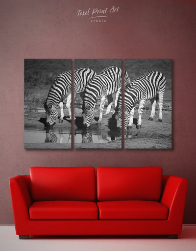 3 Panels Zebra Black and White Wall Art Canvas Print - 3 Panels Animals black and white wall art Living Room Nature
