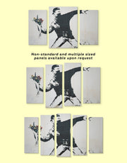 3 Piece Banksy Rage Flower Thrower Wall Art Canvas Print