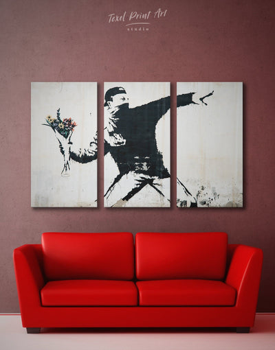 3 Piece Banksy Rage Flower Thrower Wall Art Canvas Print - 3 Panels banksy wall art bedroom black and white wall art Contemporary