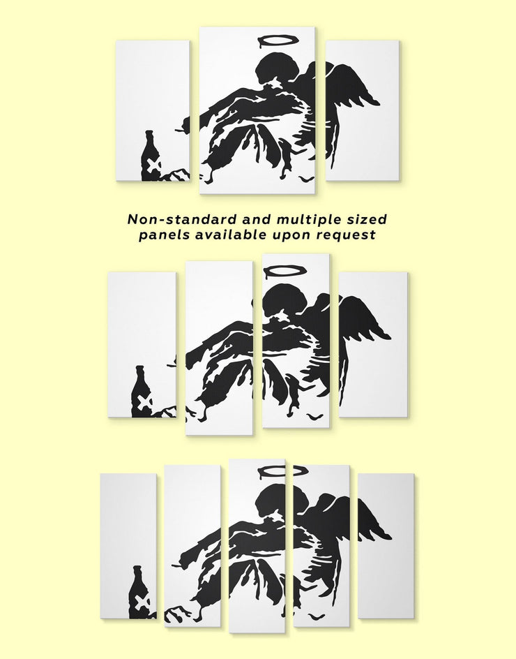 3 Piece Banksys Fallen Angel Street Wall Art Canvas Print - 3 Panels Banksy Banksy wall art bedroom Black
