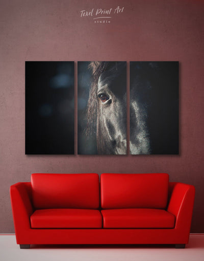 3 Piece Black Horse Wall Art Canvas Print - 3 Panels Animal bedroom black and white wall art Farmhouse
