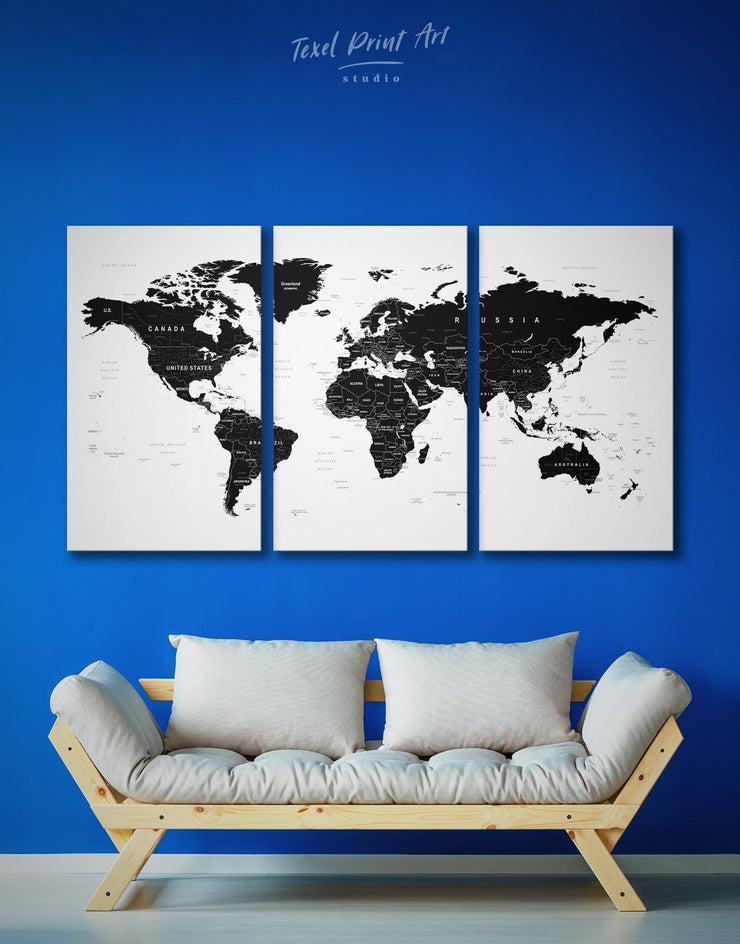 3 Piece Black World Map Wall Art Canvas Print - 3 Panels Black black and white wall art Black and white world map map of the world labeled