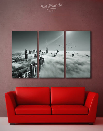 3 Piece Dubai Skyline Wall Art Canvas Print - 3 Panels bedroom black and white wall art Cityscape Dubai