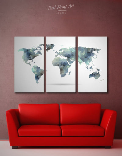 3 Piece Geometric Wall Art Canvas Print - 3 Panels Abstract Abstract map abstract world map wall art Geometric