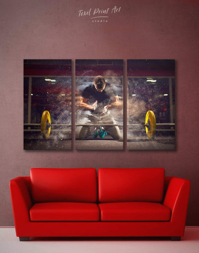 3 Piece Gym Wall Art Canvas Print - 3 Panels Brown Home Gym inspirational wall art Living Room