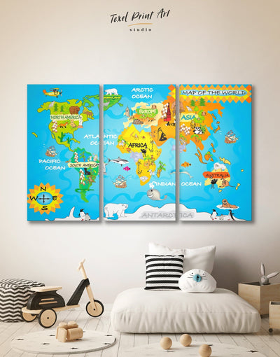 3 Piece Map of the World for Kids Wall Art Canvas Print - 3 Panels Abstract map bedroom Blue Kids room