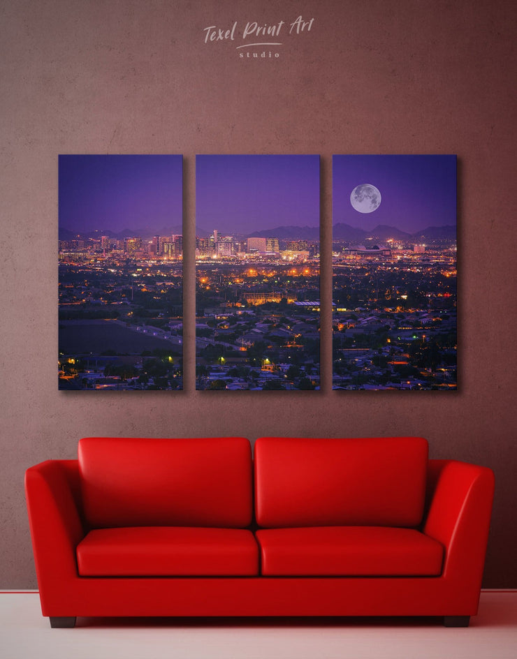 3 Piece Night Cityscape Wall Art Canvas Print - 3 Panels bedroom City Skyline Wall Art Cityscape Living Room