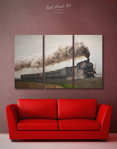 3 Piece Old Train Wall Art Canvas Print - 3 Panels Living Room living room wall art Playroom Teens