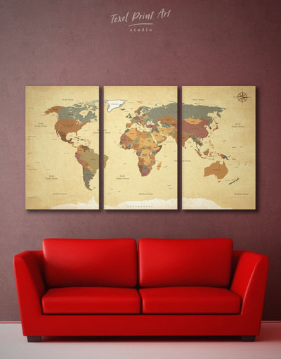 3 Piece Rustic World Map Wall Art Canvas Print - 3 Panels Living Room map of the world labeled Office Wall Art Push pin travel map