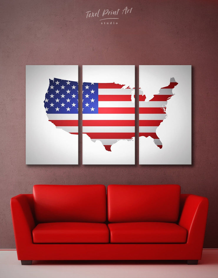 3 Piece USA Map Wall Art Canvas Print - 3 Panels bedroom Country Map Country Wall Art for Living Room Flag Wall Art