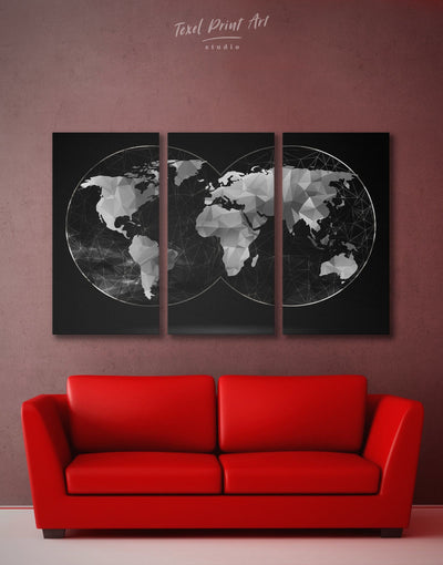 3 Piece World Map Black Wall Art Canvas Print - 3 Panels Abstract map abstract world map wall art bedroom Black