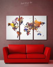 3 Piece World Map Wall Art Canvas Print