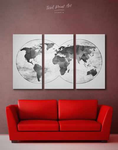 3 Pieces Abstract Grey Wall Art Canvas Print - 3 Panels Abstract map abstract world map wall art bedroom Contemporary