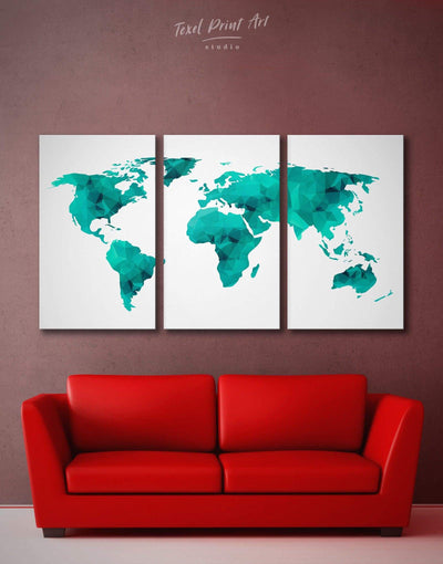 3 Pieces Abstract Map Wall Art Canvas Print - 3 Panels Abstract map abstract world map wall art bedroom Geometric