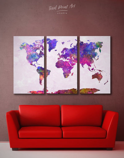 3 Pieces Abstract Watercolor World Map Wall Art Canvas Print - 3 Panels Abstract map corkboard Hallway Living Room