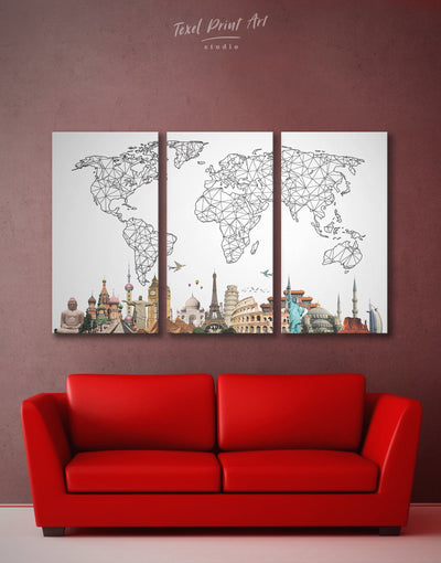 3 Pieces Abstract World Map with Landmarks Wall Art Canvas Print - 3 Panels Abstract bedroom Black and white world map Dining room
