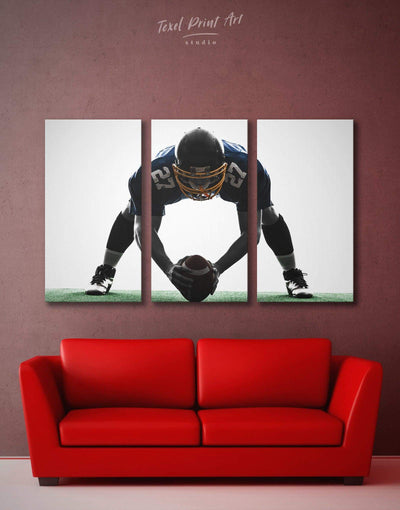 3 Pieces American Football Wall Art Canvas Print - 3 Panels bachelor pad black and white wall art contemporary wall art Football Wall Art