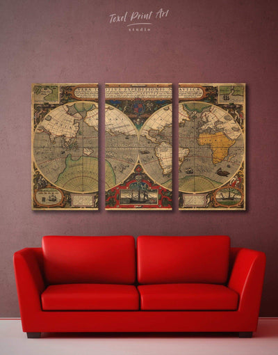 3 Pieces Antique World Wall Art Canvas Print - 3 Panels Antique Antique world map canvas bedroom Brown