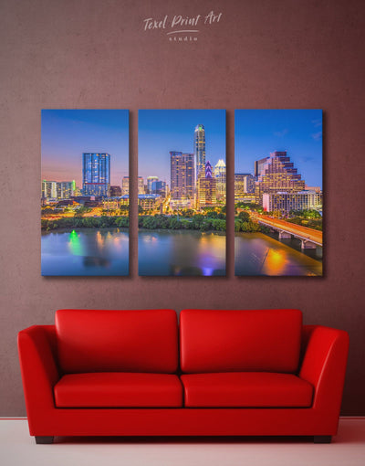 3 Pieces Austin Texas Wall Art Canvas Print - 3 Panels austin texas wall art bedroom City Skyline Wall Art Cityscape
