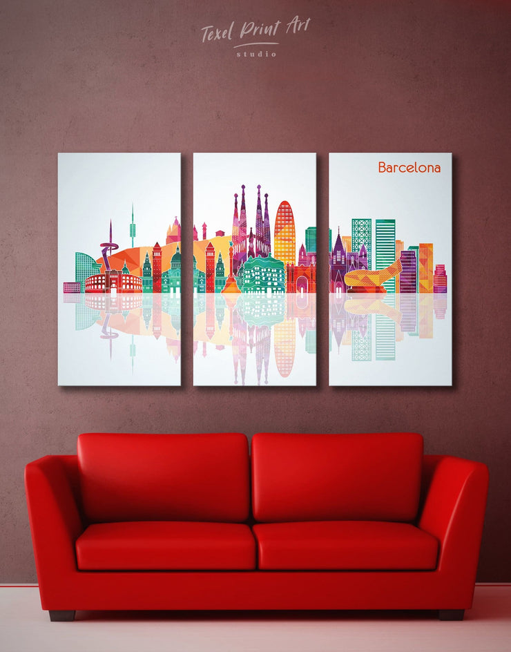 3 Pieces Barcelona Skyline Canvas - Canvas Wall Art 3 Panels bedroom City Skyline Wall Art Cityscape Dining room