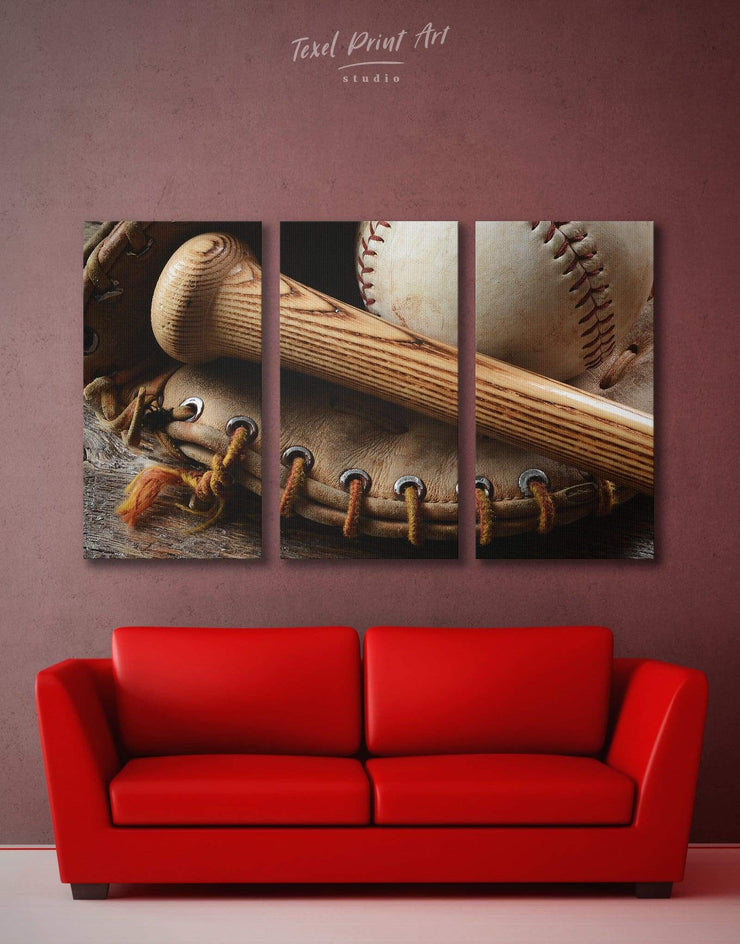 3 Pieces Baseball Wall Art Canvas Print - 3 Panels bachelor pad Brown inspirational wall art Living Room