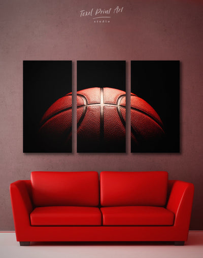 3 Pieces Basketball Wall Art Canvas Print - Canvas Wall Art 3 Panels basketball black Hallway Living Room