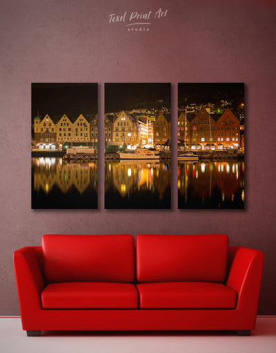 3 Pieces Bergen Skyline Wall Art Canvas Print - 3 Panels bedroom Brown City Skyline Wall Art Cityscape