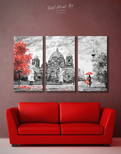 3 Pieces Berlin Romantic Wall Art Canvas Print - 3 Panels bedroom grey Hallway Living Room