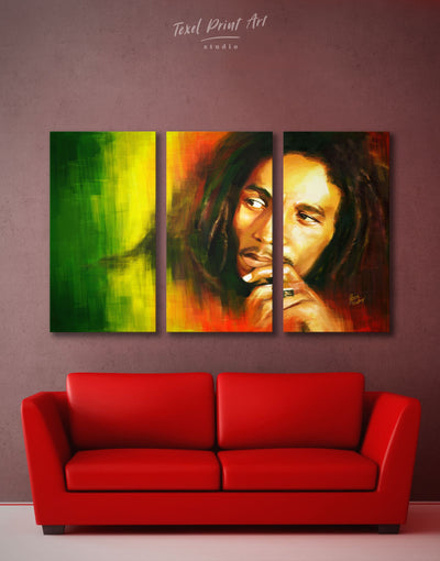 3 Pieces Bob Marley Wall Art Canvas Print - 3 Panels bachelor pad bedroom Hallway Living Room