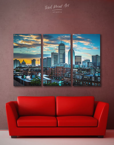 3 Pieces Boston Cityscape Wall Art Canvas Print - 3 Panels Blue Boston City Skyline Wall Art Cityscape