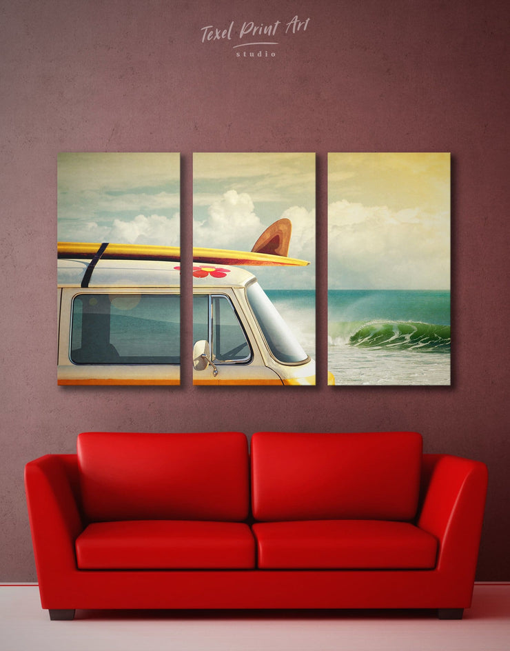 3 Pieces Camper Van Wall Art Canvas Print - 3 Panels Beach House beach wall art bedroom Car