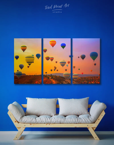 3 Pieces Cappadocia Air Balloon Wall Art Canvas Print - bedroom Dining room Hot air balloon inspirational wall art landscape wall art