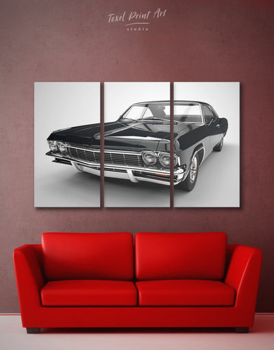 3 Pieces Chevrolet Car Wall Art Canvas Print - 3 Panels bachelor pad Black black and white wall art Car