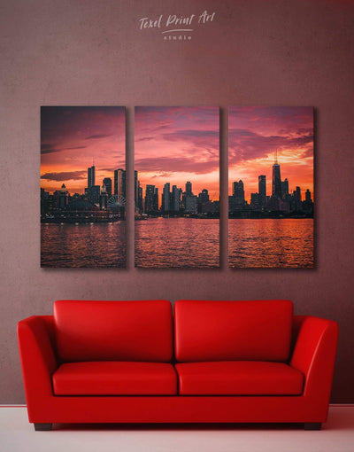 3 Pieces Chicago Skyline at Night Wall Art Canvas Print - Canvas Wall Art 3 Panels bedroom City Skyline Wall Art Cityscape Dining room