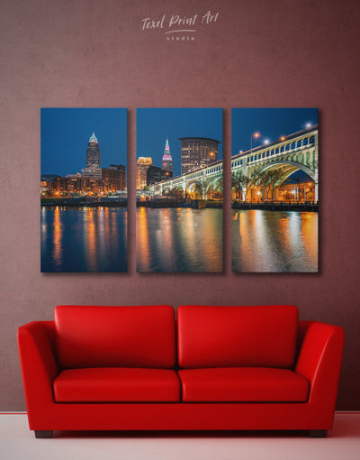 3 Pieces Cleveland Wall Art Canvas Print - 3 Panels bedroom City Skyline Wall Art Cityscape cleveland wall art