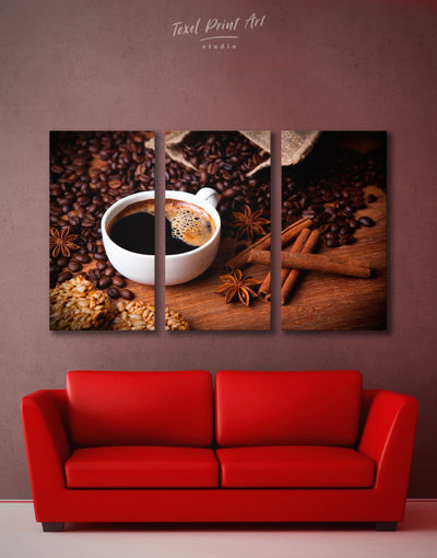 3 Pieces Coffee Beans Wall Art Canvas Print - 3 Panels Brown Dining room Kitchen