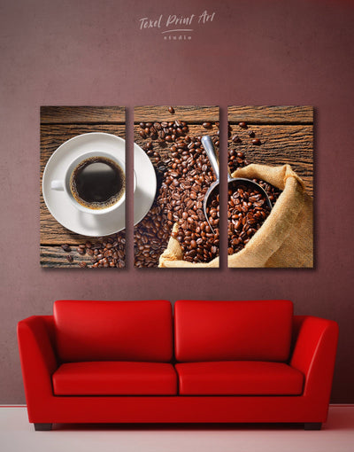 3 Pieces Coffee Wall Art Canvas Print - 3 Panels Brown Dining room Kitchen