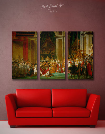 3 Pieces Coronation of Napoleon by Jacques-Louis David Wall Art Canvas Print - 3 Panels bedroom Hallway Library Living Room