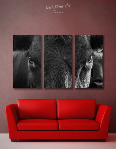 3 Pieces Cow Wall Art Canvas Print - 3 Panels Animals bedroom black and white wall art cow canvas wall art