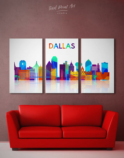 3 Pieces Dallas Skyline Canvas Wall Art - Canvas Wall Art 3 Panels Abstract bedroom City Skyline Wall Art Cityscape