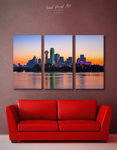 3 Pieces Dallas Skyline Wall Art Canvas - Canvas Wall Art 3 Panels bedroom City Skyline Wall Art Cityscape dallas wall art