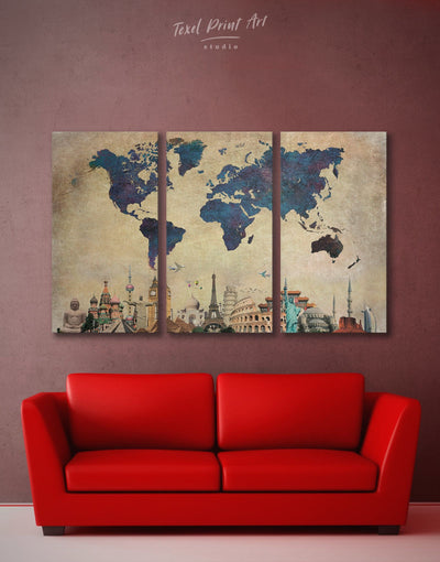3 Pieces Dark Blue World Map Wall Art Canvas Print - 3 Panels Abstract map Blue blue wall art for bedroom Blue wall art for living room