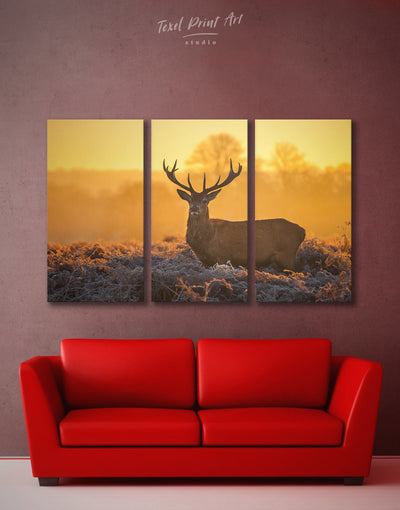 3 Pieces Deer Wall Art Canvas Print - 3 Panels Animal bedroom deer wall art Living Room