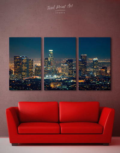 3 Pieces Downtown Los Angeles Wall Art Canvas - Canvas Wall Art 3 Panels bedroom City Skyline Wall Art Cityscape Hallway