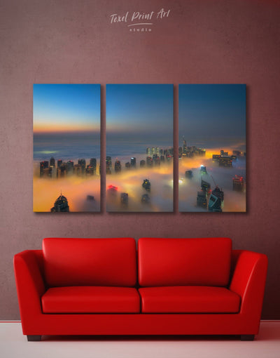 3 Pieces Dubai at Top Wall Art Canvas Print - 3 Panels City Skyline Wall Art Cityscape Dubai Living Room