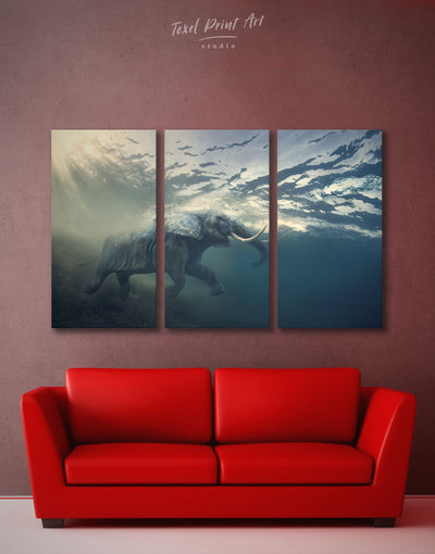 3 Pieces Elephant Wall Art Canvas Print - 3 Panels Animal bedroom Blue elephant wall art