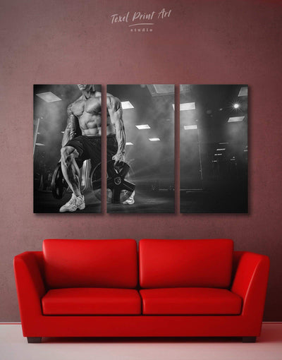 3 Pieces Fitness Wall Art Canvas Print - 3 Panels black and white wall art Home Gym inspirational wall art Living Room